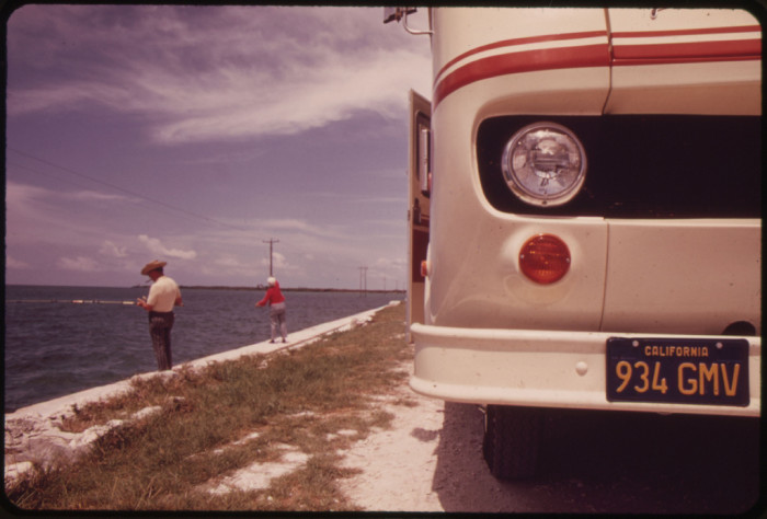 """13. Leaving Their """"Travel-Trailer"""" on the Side of the Road, This Retired Couple From California Stops to Fish Off the Embankment at Spanish Harbor Key. Trailers Like This Are Highly Popular with Visitors to the Florida Keys."""