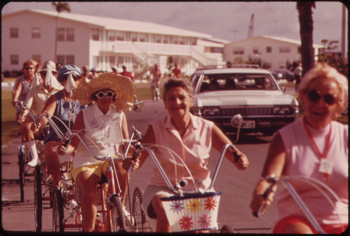 1. Tricycle Club of the Century Village Retirement Community Meets Each Morning.