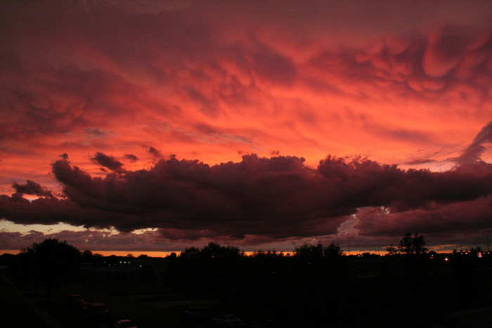 10. This impressive fiery sky over a town in North Dakota