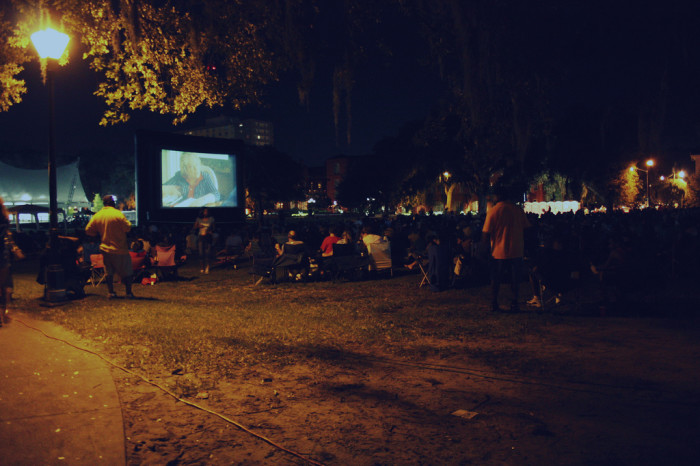 6. Watching a movie under the stars.