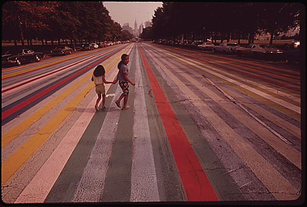 1. Children cross the painted road by the Philadelphia Museum of Art, 1973