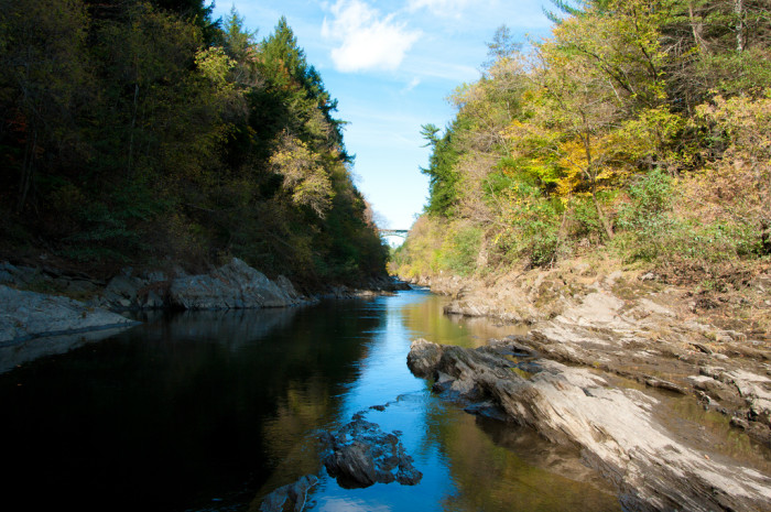 1.  Walk along the rocks at the bottom of Quechee Gorge.