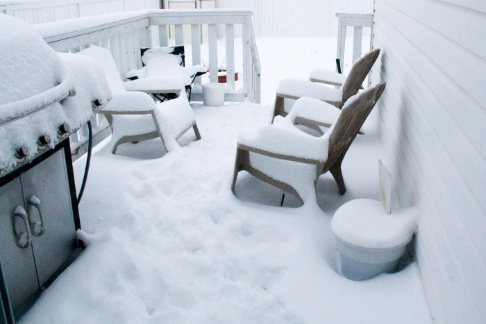 3. Brought out the patio furniture just a little too early.