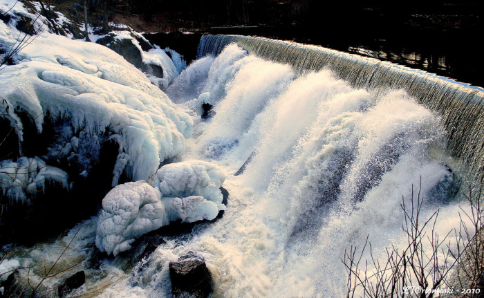 Even winter can't stop this waterfall! The combination of being both high and wide keeps the water flowing year-round.