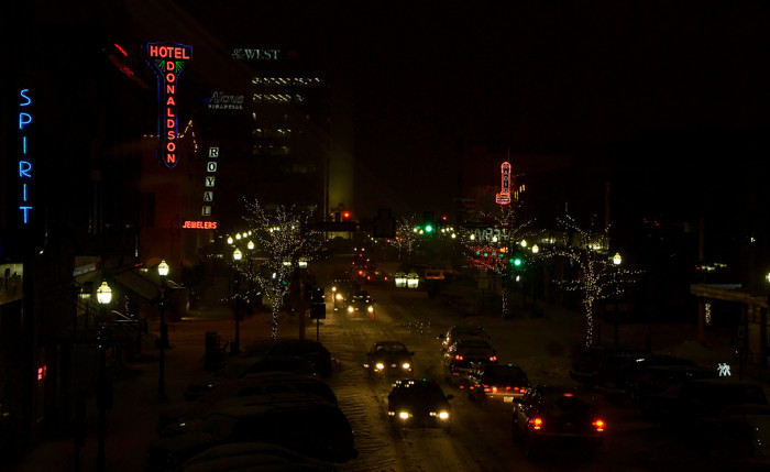 7. Nightlife and neons in downtown Fargo.