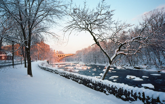 3. The Brandywine River looks beautiful in the warm glow of sunshine after a fresh snowfall.