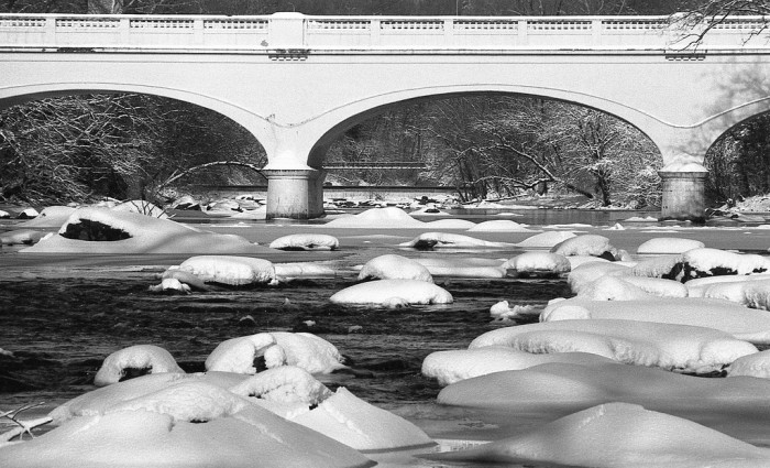 4. The typically jagged rocks of the Brandywine look like soft pillows covered in snow.