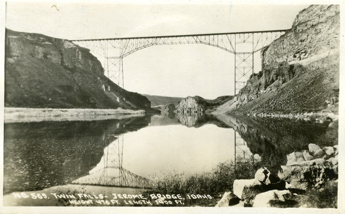 5. The Twin Falls-Jerome Intercounty Bridge rises above the Snake River canyon.