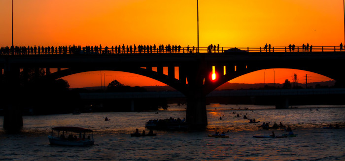 10. The famous Congress Bat Bridge, where Mexican freetail bats emerge during sunset.