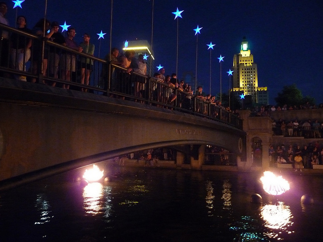 5. Spectators take in the magic of Providence Waterfire in this amazing image.