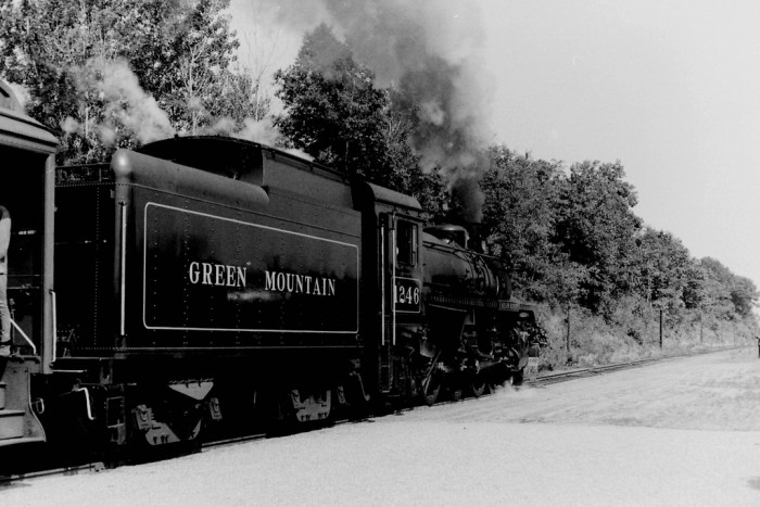 3. A train built at the end of WWII pulls into North Walpole.