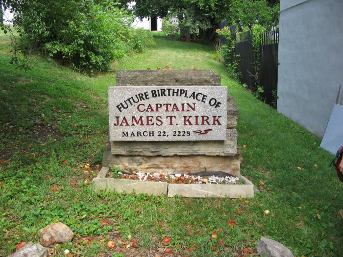 6. In 213 years, Captain Kirk will be born in Riverside Iowa, and go on to pilot the USS Enterprise.