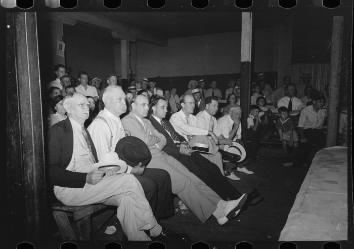 6.	Spectators at a wrestling match, Sikeston, May 1938.