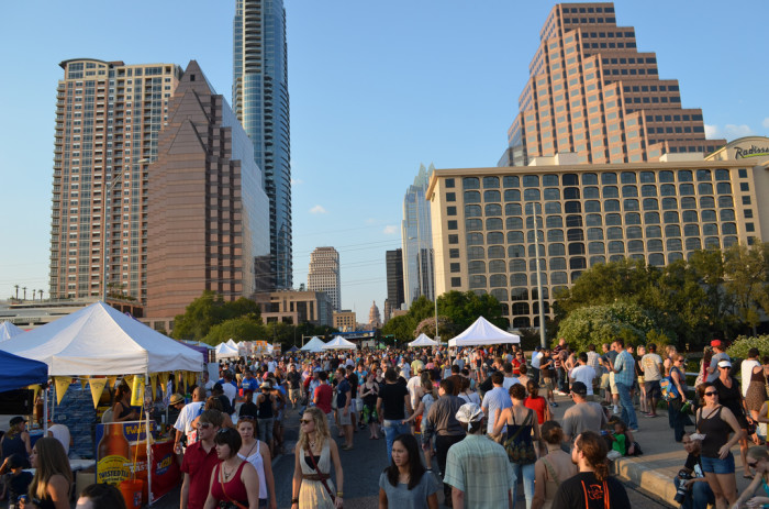 14. Austin Bat Fest is a time where visitors can view the emergence of 1.5 million bats from underneath the Congress bridge, whilst enjoying live music, food, and arts & crafts vendors.
