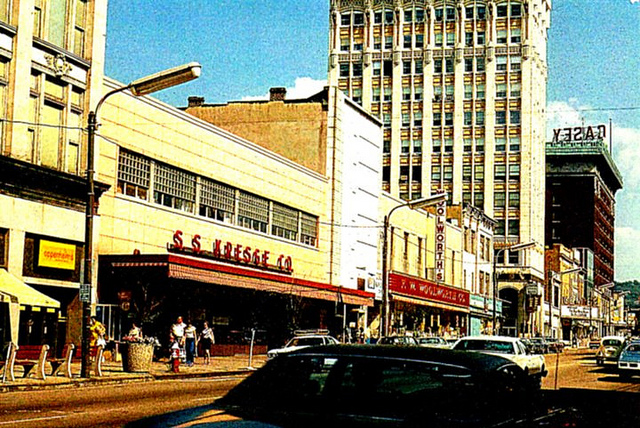 6. Lackawanna Avenue in Scranton, circa 1970. You can see F.W. Woolworth and the S.S. Kresge Store.