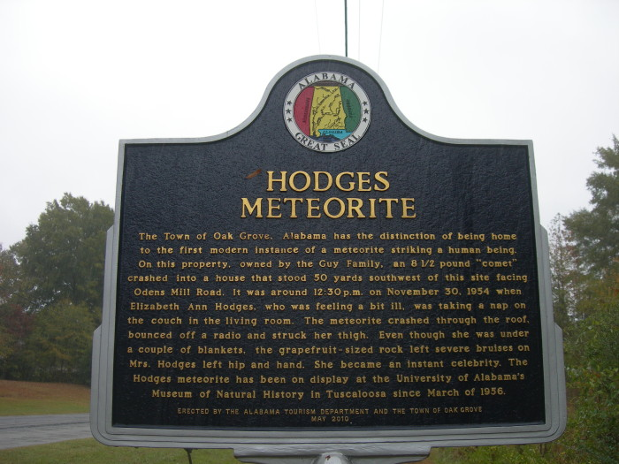 9. In the town of Oak Grove, on November 30, 1954, Ann Hodges was hit by a meteorite while napping on her couch. Surprisingly, Ann survived and is the only confirmed person in history to have been hit by a meteorite.