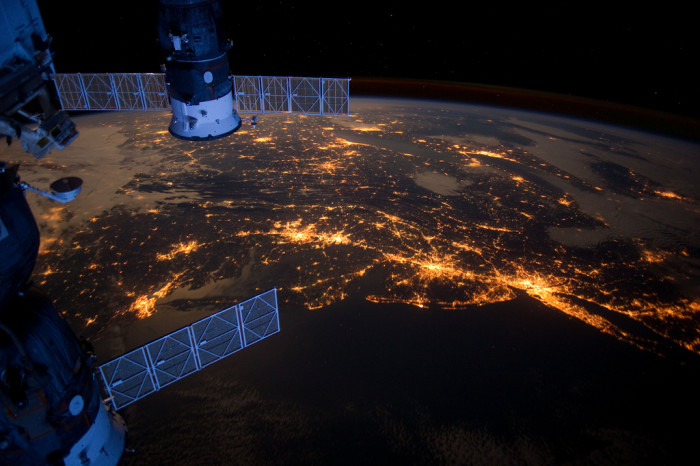 1. The lights of Delaware at night from high above the earth aboard the International Space Station