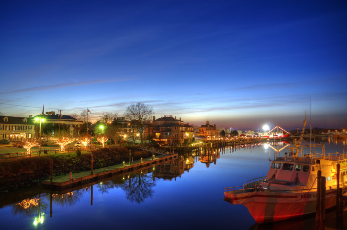 2. The reflections of lights in Lewes in the canal