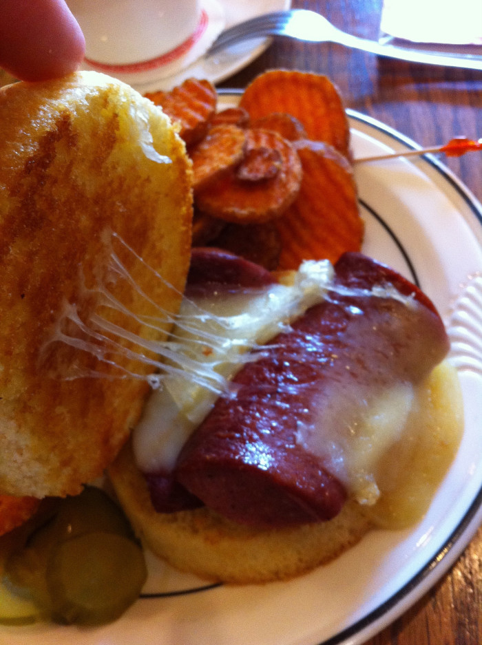 2. Troyer's Trail Bologna and swiss cheese sandwich