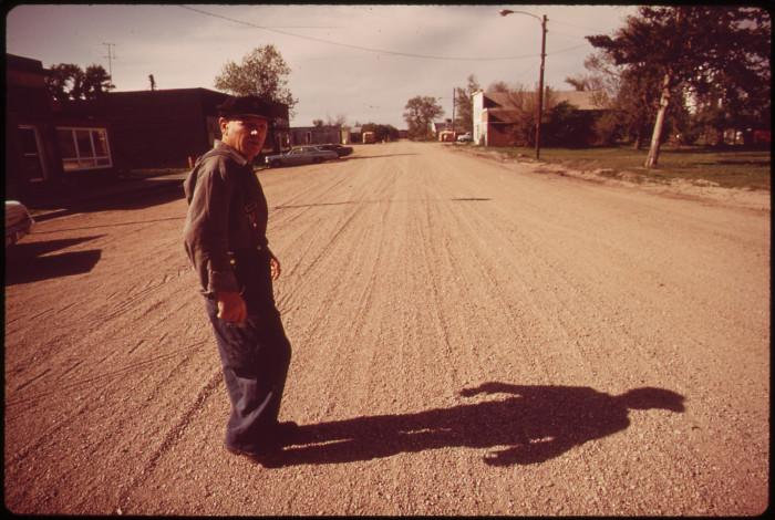 6. Here, the same Charlie Gross walks along Main Street in  Grafton, May 1973.
