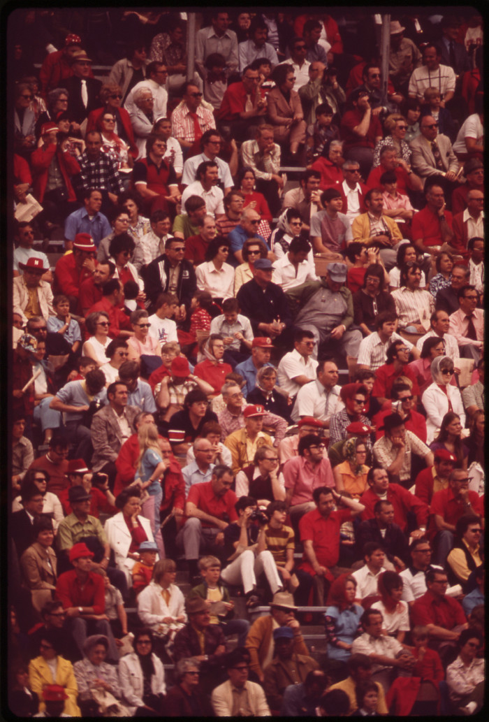 """10. From the original caption: """"The annual spring football game at the University of Nebraska is a stadium-packing event. It is an intra-squad game, and many fans wear red in tribute to the team, nicknamed the """"Big Red,"""" May 1973."""""""