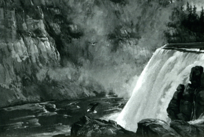 3. The Upper Mesa Falls seem almost lifelike in this painting.