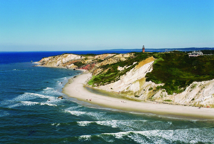13. The great clay heights of the Aquinnah cliffs on Martha's Vineyard.