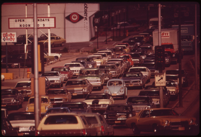 23. A traffic pileup on Omaha's Dodge Street in May 1973. Just look at all of those awesome (now-vintage) cars!