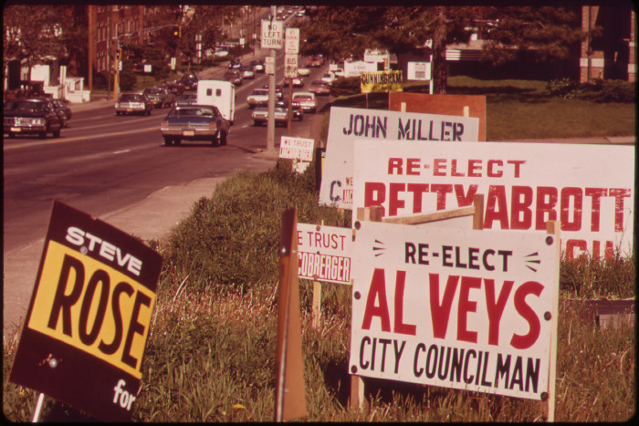 25. Campaign signs line Dodge Street in Omaha, May 1973.