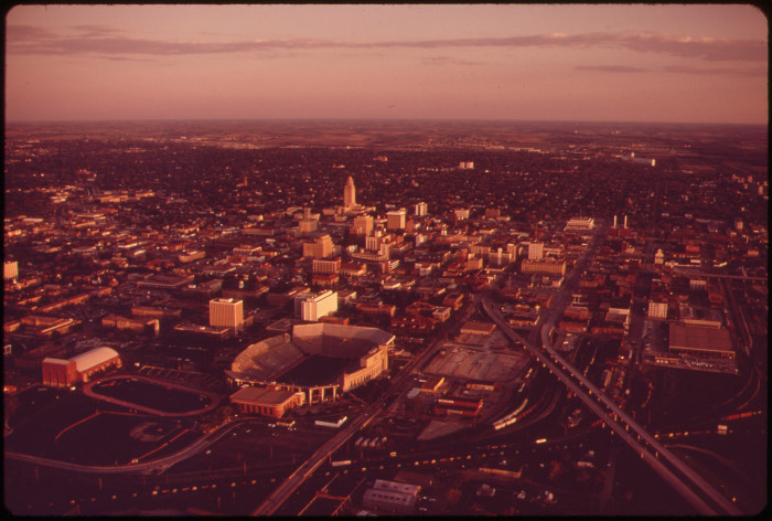 """9. From the original caption: """"Lincoln, the capital city, including subdivision on western edge. Lincoln has been described as a """"rural city,"""" with few of the pressures found in other metropolitan areas of the U.S., May 1973."""""""