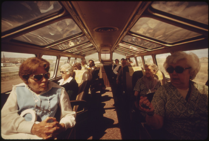 8. Some passengers of the Southwest Limited enjoy the scenery in what appears to be northern Arizona.