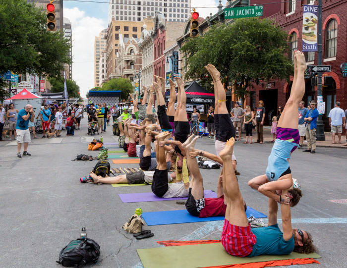 7. Practice yoga in the middle of Downtown Austin.