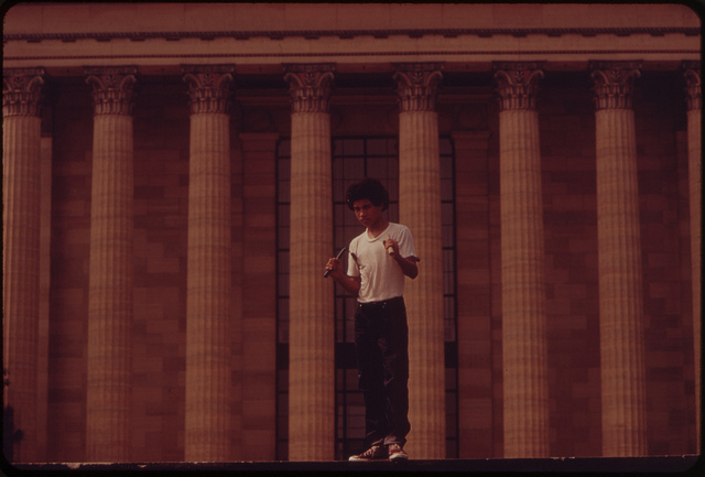 9. A young boy stands outside the Philadelphia Museum of Art in 1973.