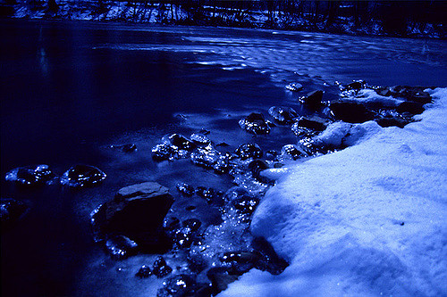 3. A view of a wintry Blackstone River at night.