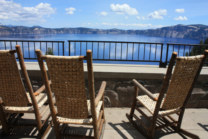 Rocking chairs overlooking the lake at the lodge: