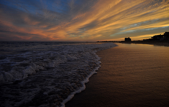 2. The last few moments of the sun setting over Misquamicut Beach set up this breathtaking image.