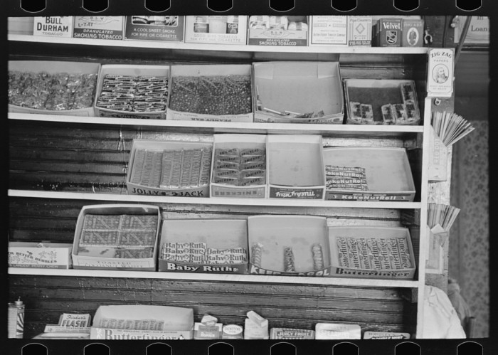 8.	Display of candy in a store, La Forge, August 1938.