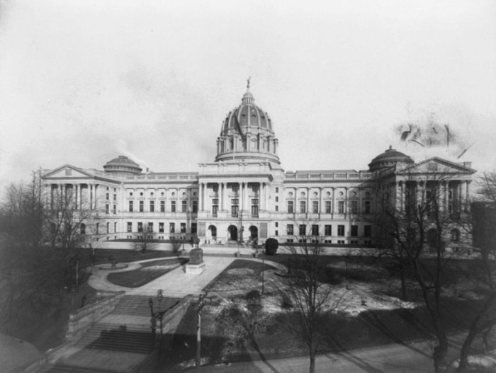 2. This photo was taken of the state capitol in Harrisburg shortly after its dedication in 1906.