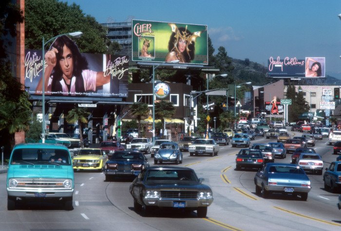 13. A snapshot of the Sunset Strip in 1979. Look at the musicians featured on those billboards -- Eddie Money, Cher and Judy Collins.