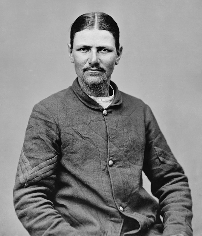 """10. After killing John Wilkes Booth and retiring from the army, Thomas """"Boston"""" Corbett is thought to have grown out his hair (to emulate Jesus), castrated himself with scissors, and lived in a hole near Concordia."""