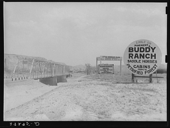 4. Here are some advertisements by a bridge going over the Little Missouri River near Medora.