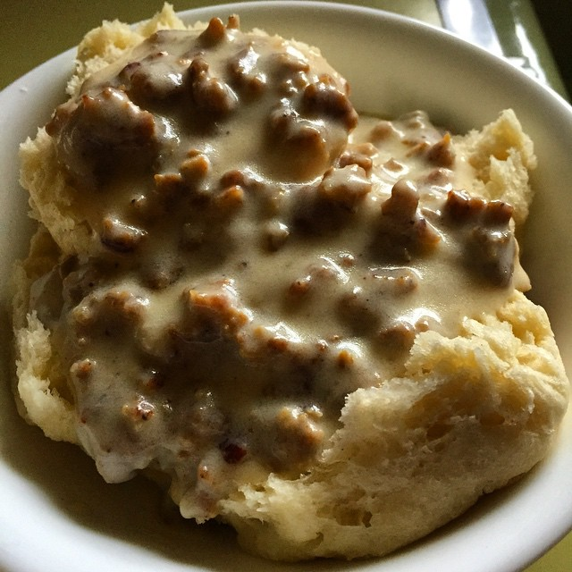 9. Gravy is a common part of your breakfast fare.