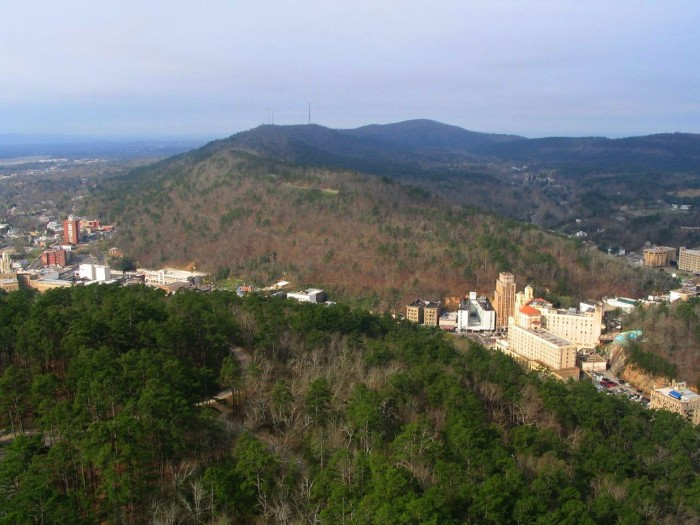 9. This view of historic Hot Springs as seen from that same mountain tower isn't too shabby either: