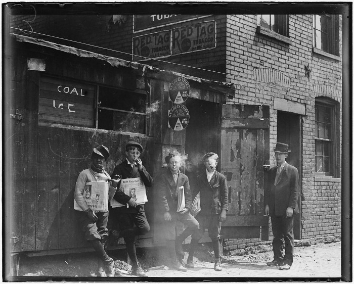 9.Another shot of all of the boys smoking at 11:00 A.M.  at Skeeter's Branch in St. Louis. May 1910.