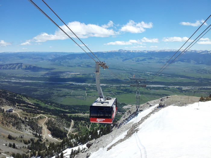 2. The view from the Aerial Tram as it travels to the summit of Rendezvous Mountain.