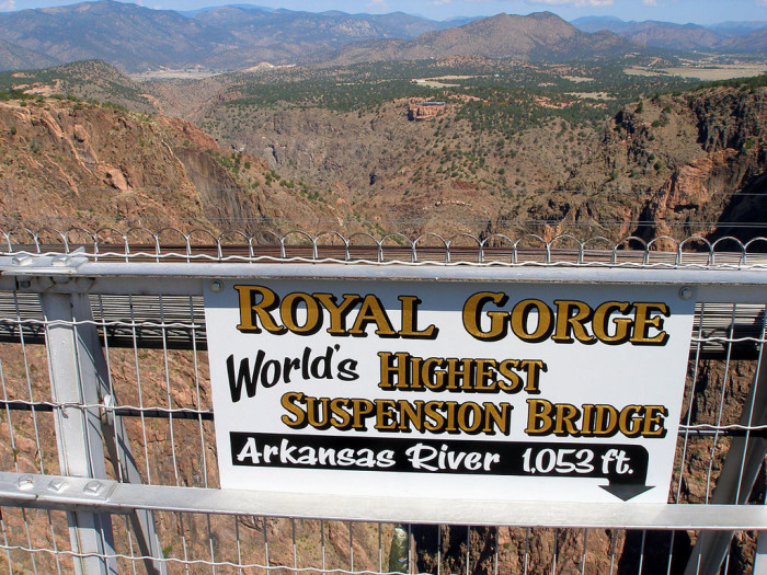Warning: This bridge is NOT for the faint of heart, as up until 2003, the Royal Gorge was considered to be the highest suspension bridge in the world. (It was beat out by China's Beipanjiang River Bridge, which stands at a whopping 1,201 feet high.)