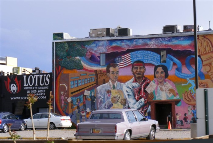 3. There are more than 100 public art installations in downtown Albuquerque, like this colorful mural on Gold Avenue.