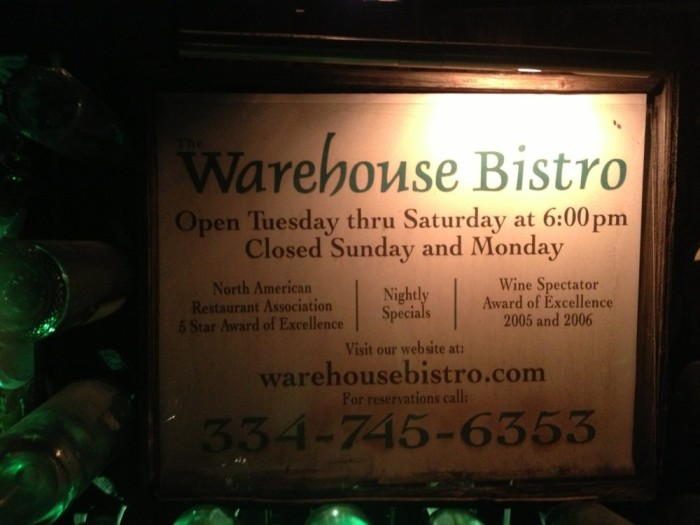 Dinner: The Warehouse Bistro - 105 Rocket Ave, Opelika, AL 36804