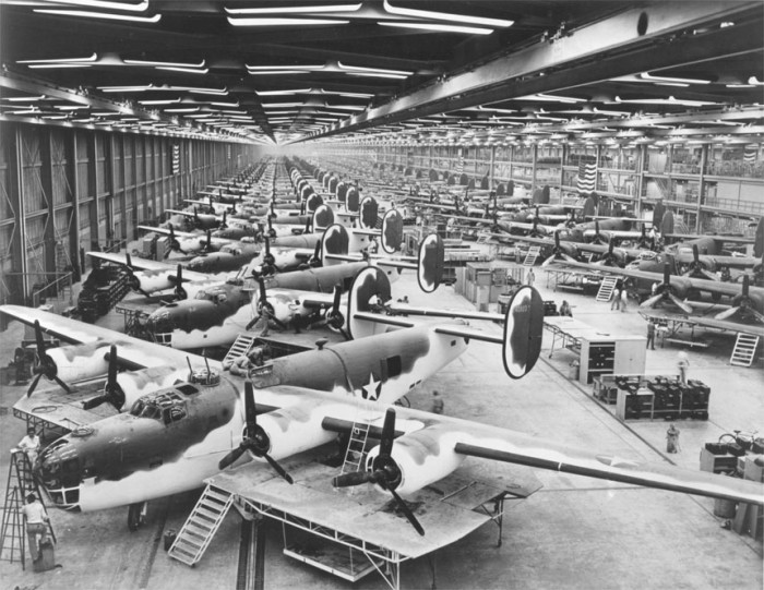 7. This is a bomber and transport plane plant in Fort Worth - part of the world's largest double aircraft assembly line.