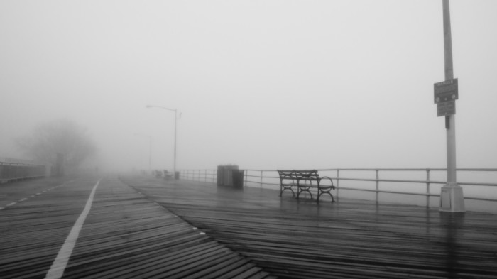 4. A foggy stroll along New York's empty boardwalk.